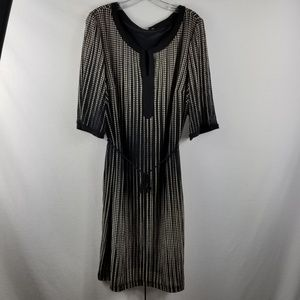 Sandra Darren Short Sleeve Dress Brown Tan Stripe